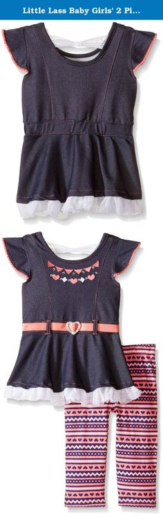 Little Lass Baby Girls' 2 Piece Capri Set Denim Heart, Denim, 6-9 Months. Little Lass offers cute and comfortable styles with quality construction. She is adorable in this 2 piece set including a knit denim top with embroidery decor, pom pom trim, a nonfunctional heart-shaped belt, back bow, and ruffled tulle bottom layer, paired with a printed spandex Capri.