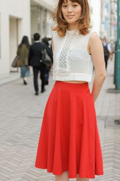 flaming red flared skirt