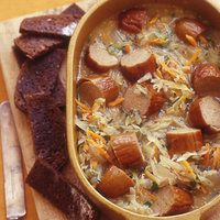 Knocks 'n' Brats Stoup.  I would use beef stock instead of beer as I am LDS and we are teetotalers