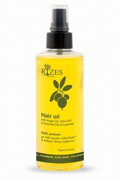 Hair oil with Argan Oil, Olive Oil* & Essential Oils of Lavender - rizescrete cosmetics #rizescrete #naturalcosmetics #cretecosmetics