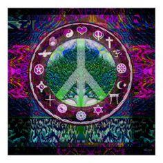 ☮ American Hippie Psychedelic Art ~ Peace Mandala .. World Religions Peace Tree of Life Mandala