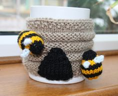 Bee hive mug hug with bumble bees Gardener by sweetygreetings, £2.50