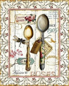 Lisa Audit Rose Garden Utensils II print for sale. Shop for Lisa Audit Rose Garden Utensils II painting and frame at discount price, ships in 24 hours. Cheap price prints end soon. Decoupage Vintage, Vintage Diy, Vintage Labels, Vintage Paper, Printable Vintage, Etiquette Vintage, Images Vintage, Red Art, Kitchen Art