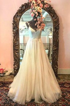 Elegant beige tulle long prom gown wedding dress with spaghetti straps