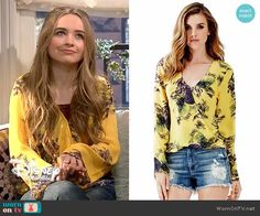 Maya's yellow printed wrap blouse on Girl Meets World. Outfit Details: http://wornontv.net/53996/ #GirlMeetsWorld