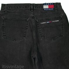 09e774cf90 Tommy Hilfiger Jeans Vintage Made USA Flag Patch Black Denim Freedom Jean  36x32  TommyHilfiger