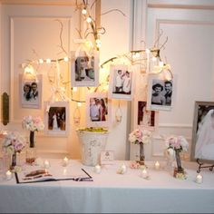 Guest book table - family tree with parents and grandparents wedding pictures - change them all to black and white