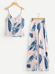 Shop Jungle Print Cami Top With Pants online. SheIn offers Jungle Print Cami Top With Pants & more to fit your fashionable needs. Cute Sleepwear, Sleepwear Women, Pajamas Women, Loungewear, Teen Fashion Outfits, Girl Outfits, Casual Outfits, Cute Outfits, Ootd Fashion