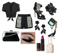 """""""Embellished night"""" by jewlesfashionline ❤ liked on Polyvore featuring Vera Wang, Temperley London, Giuseppe Zanotti, Valentino, Dolce&Gabbana, Marc Jacobs, Lipstick Queen and Essie"""