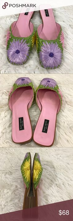 Kate Spade Floral Mules EUC and in lovely condition. Only signs of wear on these lovely slides are on the sole. Heels are in excellent condition and the flowers are beautiful kate spade Shoes Flats & Loafers