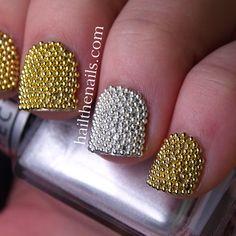 Gold & Silver Metallic Caviar Beads Nail Art....