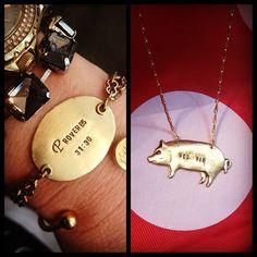 Handmade brass Woo Pig necklaces $55. Custom bracelets up to 20 characters available for fifty dollars. www.facebook.com/shopelysian or @shopelysian