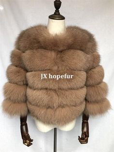 Luxurious 100% Genuine Thick Fox Fur Jacket Fox Fur Jacket, Fur Coat, Female, Elegant, Luxury, Lady, Casual, Leather, Jackets