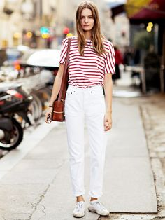 Breathe new life into your favorite white jeans and pair them with french-inspired separates like a striped shirt and sneakers. // #Fashion