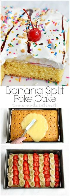 Have fun with this easy dessert recipe that kids and adults are going to love. All the flavors of a banana split in a poke cake recipe! Bananas, strawberries, and vanilla pudding covered in whipped cream, chocolate sauce and of course sprinkles with a cherry on top! This banana split poke cake recipe is easy and it is perfect for a birthday cake or a party.