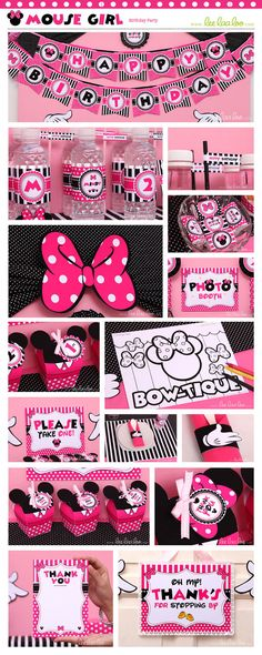 Minnie Mouse Girl Birthday Party Package Collection Set by happyDIYparty Minnie Mouse 1st Birthday, Minnie Mouse Theme, Disney Birthday, Mickey Mouse, Little Girl Birthday, Baby 1st Birthday, 3rd Birthday Parties, Birthday Ideas, Mickey Party