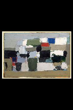 """. Nicolas De Staël - """" Les toits de Paris """", 1952 - Huile sur carton - 14,6 x 22 cm - Coll. Mme Georges Pompidou (-)"""