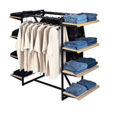 Clothing Display Shelves with Hangrails 1