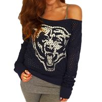 Chicago Bears Off Shoulder holey Jersey Pullover in navy blue
