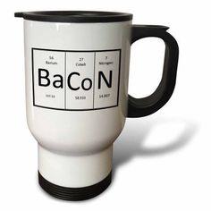 3dRose BaCoN., Travel Mug, 14oz, Stainless Steel
