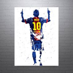 Lionel Andrés Leo Messi Poster at PixArtsy. Unique poster of Lionel Messi celebrating a goal for Barcelona. Maroon, blue and gold color scheme.