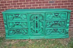 My shop is giving away this Dresser... Register to win!!!  Teal Blue Vintage Dresser accented with Dark by AquaXpressions,
