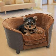 Pawhut Pet Dog Sofa Bed Couch Lounge PU Leather Plush w/ Cushion #Pawhut