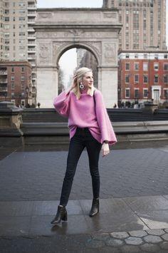 oversized pink mohair mockneck bell sleeve sweater, J.Crew lookout high rise jeans, black block heeled booties, oversized J.Crew tortoiseshell earrings, washington sq park new york city