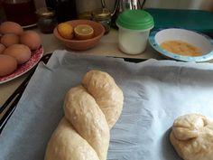"Sweet Easter bread ""tsoureki"" just before the oven! Greek Easter!"
