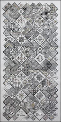 Blocks 1 - 24 'Save the Stitches' complete. Border? probably www.blackworkjourney.co.uk