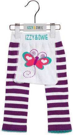 Purple and White Butterfly Girls Leggings by Izzy & Owie -Giggles Gear