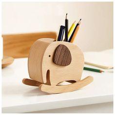 Cute Wooden Elephant Rocking Pen Holder Office Organize Storage Decoration - WoodNewLife Pencil Holder, Pen Holders, Wooden Elephant, Wood Sizes, Decorative Storage, Office Organization, Office Gifts, Fun Learning, Woods