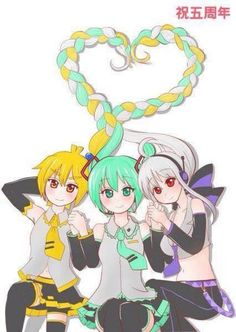 Flower, Miku, and Lily (I think) <------ Nope, it's Neru Miku and Haku Hatsune Miku Songs, Haku Vocaloid, Kaito, Kaai Yuki, Vocaloid Characters, Iroha, Anime, Japanese, Manga