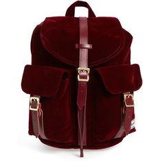 Women's Herschel Supply Co. 'Dawson- Mid Volume' Backpack (€55) ❤ liked on Polyvore featuring bags, backpacks, windsor wine velvet, velvet backpack, utility backpack, lightweight daypack, light weight backpack and backpack bags