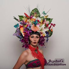 Xanadu – The largest over the top exotic rainforest headdress there is! Completed with a large overabundance of tropical flora and fauna, this piece captures it all