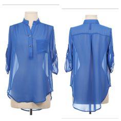 Royal blue Chinese collar blouse. $29
