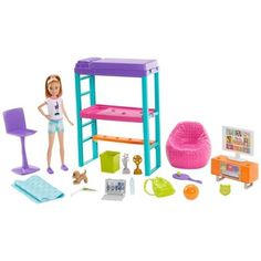 Make staying home the most fun with the Barbie Team Stacie Bedroom Playset featuring bedroom accessories. Explore the world of Stacie at our Barbie shop today!