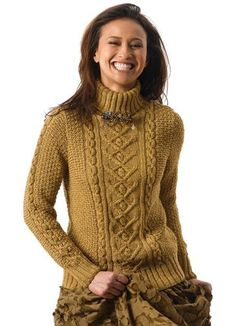Tracy is a turtleneck pullover with cable central panel - free pattern by Norah Gaughan - Berroco