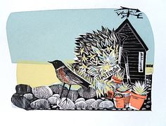 "Angela Harding, ""East Wind"", printmaking,  linocut, silkscreen print, nature, design, illustration, print, shed, bird, flowers, garden, drawing, texture, mark making"