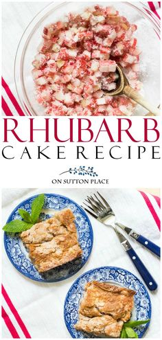 This Old Fashioned Fresh Rhubarb Cake Recipe. Makes a large cake or batter can be used to make rhubarb muffins. #rhubarb #recipeoftheday #cake #dessertrecipes #dessert