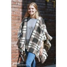 Plaid Blanket Crochet Poncho - would be great as a blanket too!