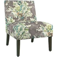 Carson Armless Accent Chair - Gray Floral - HomePop Armless Chair 97185b41dbb56