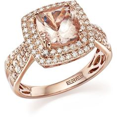 Morganite Statement Ring with Diamonds in 14K Rose Gold - 100%... ($1,700) ❤ liked on Polyvore featuring jewelry, rings, rose gold jewelry, diamond rings, pink gold rings, rose gold ring and rose gold diamond rings