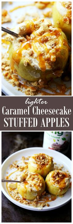 Lighter Caramel-Cheesecake Stuffed Baked Apples - Baked Apples stuffed with a lightened-up caramel cheesecake mixture and sprinkled with nuts. These are so delicious! Best Dessert Recipes, Fruit Recipes, Apple Recipes, Fun Desserts, Fall Recipes, Sweet Recipes, Delicious Desserts, Cooking Recipes, Yummy Food