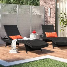 Sol 72 Outdoor™ Rockport 5 Piece Dining Set with Cushions & Reviews | Wayfair Patio Chaise Lounge, Patio Rocking Chairs, Outdoor Lounge, Patio Chairs, Chaise Lounges, Outdoor Living, Pool Lounge Chairs, Outdoor Cushions, Dining Chair