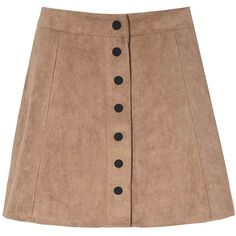 Glamorous Stone Suedette Button Skirt ($50) ❤ liked on Polyvore featuring skirts, mini skirts, bottoms, tan, crop skirt, tan skirt, a line mini skirt, beige mini skirt and mini skirt