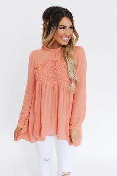 Coral High Neck Crochet Detail Long Sleeve - Dottie Couture Boutique Casual Wear, Casual Outfits, Cute Outfits, Casual Clothes, Spring Summer Fashion, Autumn Winter Fashion, Cute Fashion, Fashion Outfits, Womens Fashion