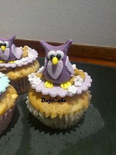Owl Food, Cupcake Recipes, Cupcake Ideas, Owl Parties, Owl Cupcakes, Beautiful Cupcakes, Sugar Art, Pretty Cakes, Gum Paste