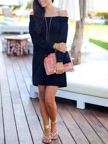 Off the Shoulder Black Dress Long Sleeve