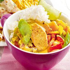 Curryhuhn mit Mangogemüse